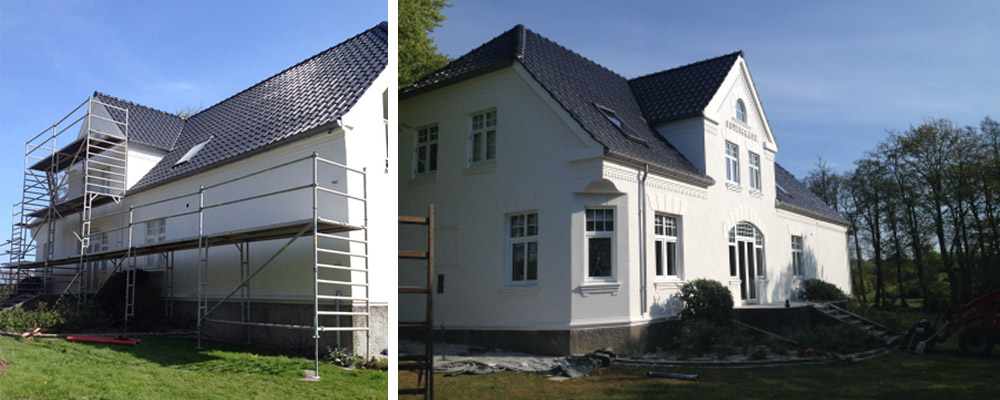 murermester villa facade puds oppudsning murbehandling hvidpudset nænsom renovering